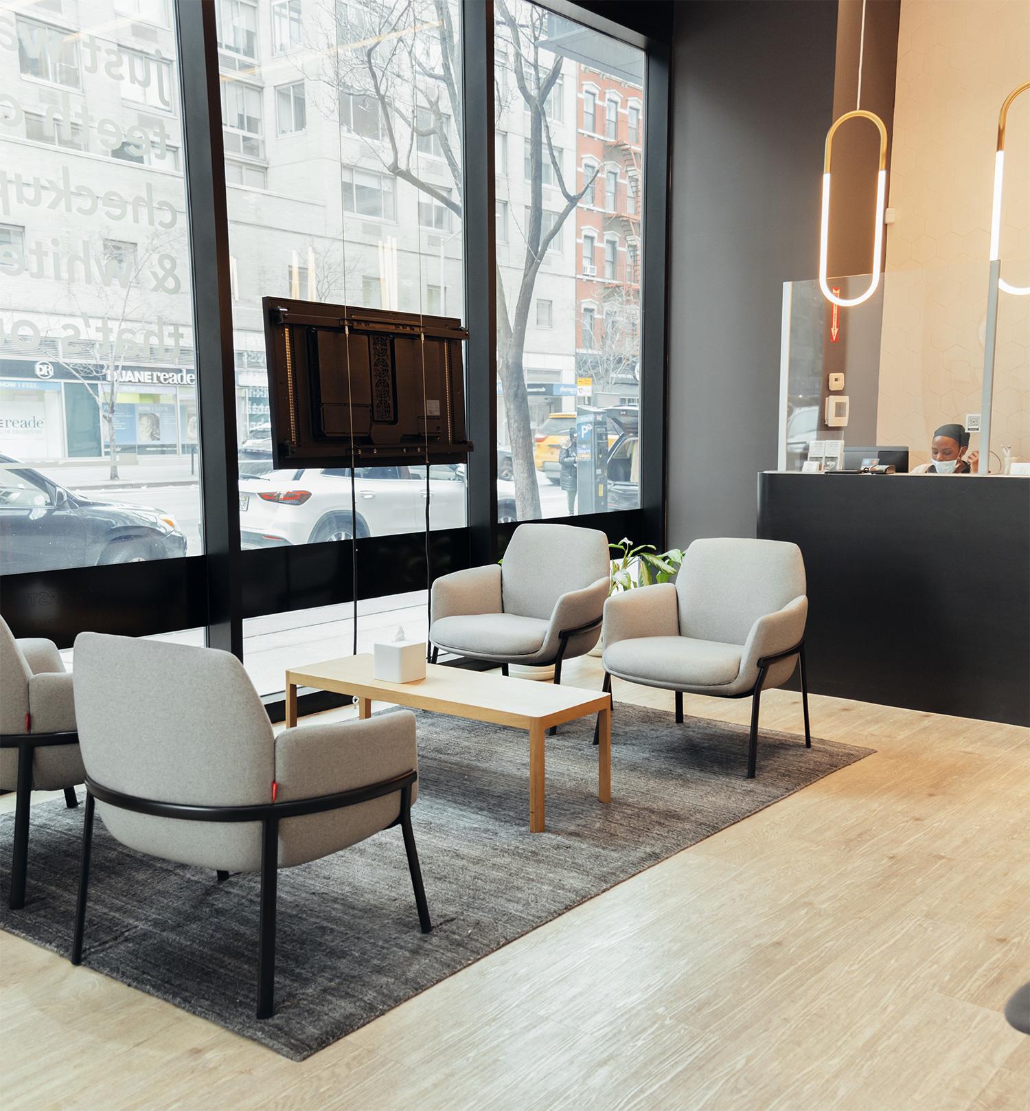 dntl bar Chelsea location's lobby seating near the front desk